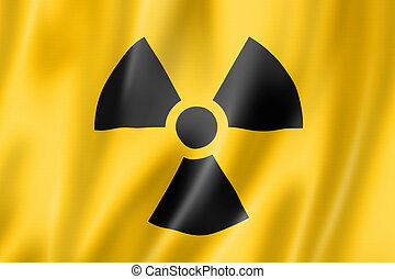 radioactive nuclear symbol flag, three dimensional render,...