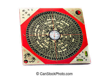 Ancient feng shui compass Luopan isolated over white...