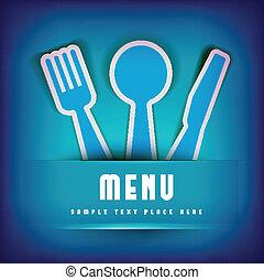 restaurante, menu, cartão, desenho, modelo