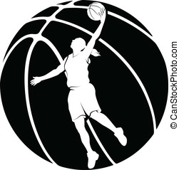 Girl Basketball Silhouette - White silhouette in a...
