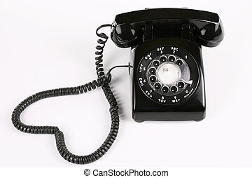Old fashioned black rotary phone
