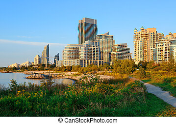 Toronto morning - Toronto cityscape at waterfront in the...