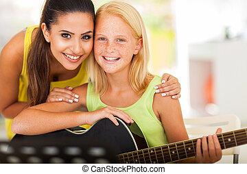 Música, tutor, preteen, niña, guitarra
