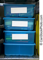 Storage Bins - 4 Clear blue plastic storage drawers with...