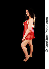 Woman in red lingerie.