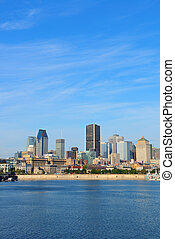 Montreal city skyline over river
