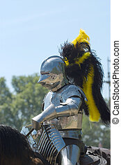 Armored Knight - A knight on horseback prior to jousting at...