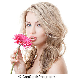 Beautiful Woman Holding Pink Chrysanthemum