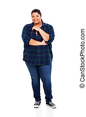 overweight woman - portrait of smiling overweight woman