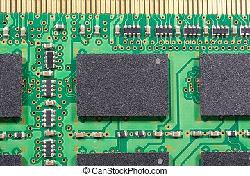 Macro chipset & printed electronics - Stock Photo, Close up...