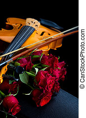 Violin on carry case - Violin on carry red case with sheet...