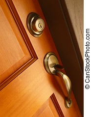 Contemporary door handle and deadbolt - Brass door handle...