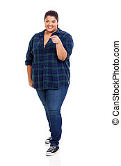 young obese woman pointing at you