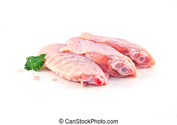 raw chicken wing isolated on white background