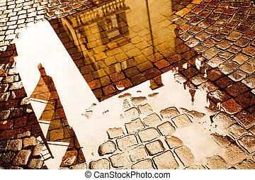 Reflections of Verona in a Puddle.