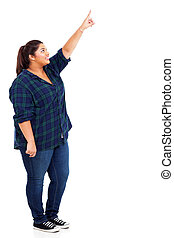 happy obese woman pointing up