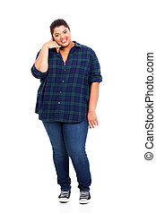 overweight woman doing call me sign