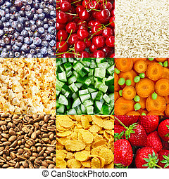 Food backgrounds - Collage from nine tasty food backgrounds...