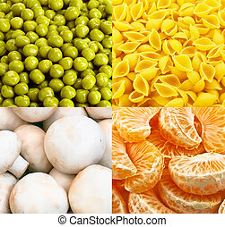Food backgrounds - Collage from four tasty food backgrounds...