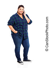 obese young woman using cell phone