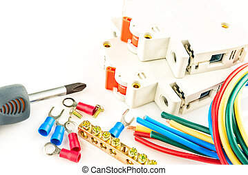 electric tools on white background