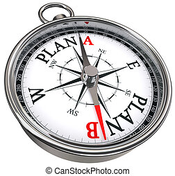 plan b direction conceptual compass, isolated on white...