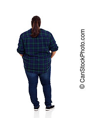 rear view of an overweight woman over white background