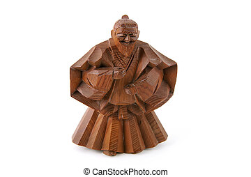 Wise Man Woodcarving - Japanese wood carving isolated on a...