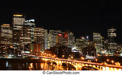 Calgary - City of Calgary by night Canada