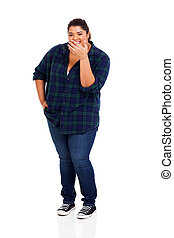overweight young woman laughing