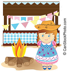 Festa Junina - Cute girl on country party.
