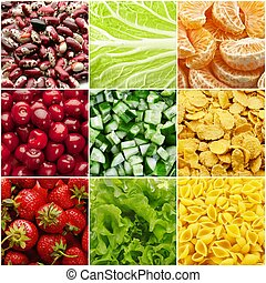 Food backgrounds - Collage (set) from many tasty food...