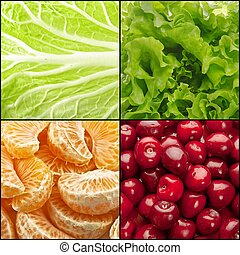 Food backgrounds - Collage (set) from four tasty food...