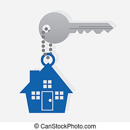 Key House Chain  - Key with house icon on a chain