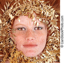 Redhead Woman With Freckles Surrounding Her Face - Lovely...