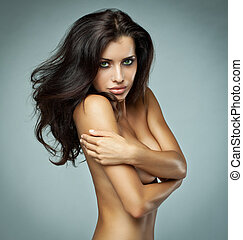 beautiful brunette woman - Portrait of beautiful brunette...