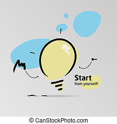 Start from yourself - The lamp makes an effort and assembles...