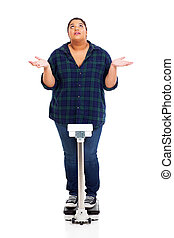 why - overweight young woman asking why when weighting...