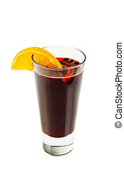 Mulled wine isolated on white - Mulled wine with orange...