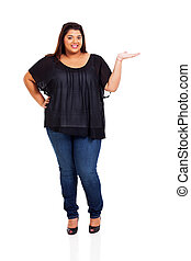 lovely plus size woman presenting