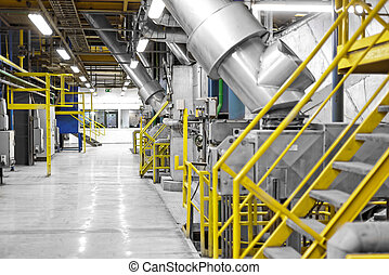 Industrial interior of a generic power plant with frames