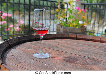 Glass of red wine - glass of red wine on a light background