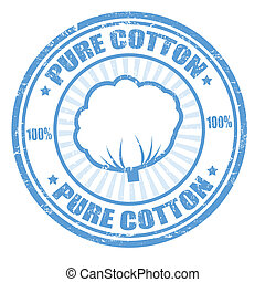 Pure cotton stamp - Blue grunge rubber stamp with the text...