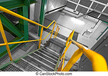 Industrial Interior with large staircase