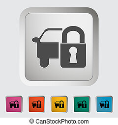 Locking car doors Single icon Vector illustration