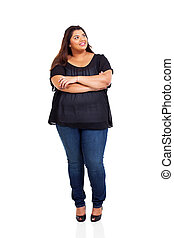 smiling overweight woman looking up isolated on white