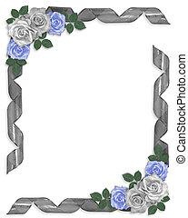 Wedding Border Blue roses ribbons
