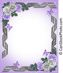 Lavender roses and ribbons Border - Image and illustration...