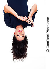 woman reading emails on smart phone upside down - upside...