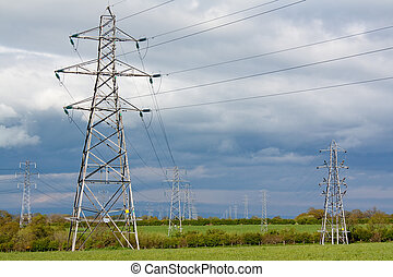 Electric pylons - Electricity pylons used to distribute...